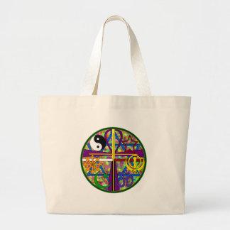 Símbolos del espiritual de la unidad bolsa de tela grande