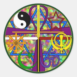 Símbolos del espiritual de la unidad pegatina redonda