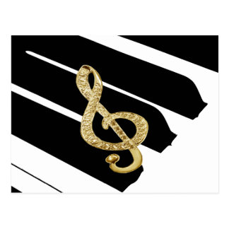 Símbolos del gclef del piano del oro postales