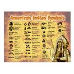 Símbolos del indio del nativo americano tarjetas postales
