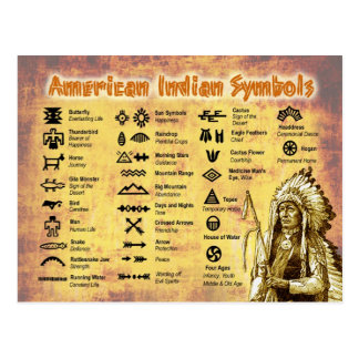 Símbolos del indio del nativo americano tarjeta postal