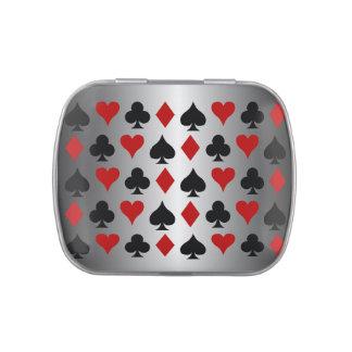 Símbolos del naipe de los diamantes de los frascos de caramelos