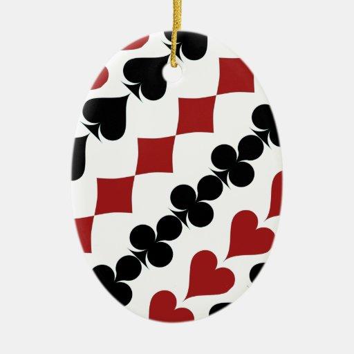 Símbolos del póker adorno ovalado de cerámica
