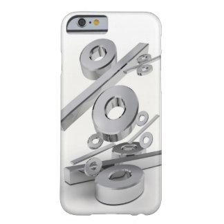 símbolos del por ciento del cromo 3D que bajan en Funda De iPhone 6 Barely There