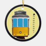Símbolos del tranvía de Portugal - de Lisboa Adorno Navideño Redondo De Cerámica
