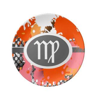 Símbolos del zodiaco, placa de la porcelana del platos de cerámica