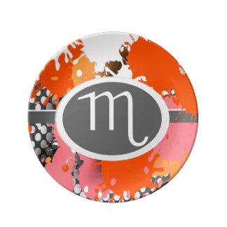 Símbolos del zodiaco, placa del escorpión, platos de cerámica