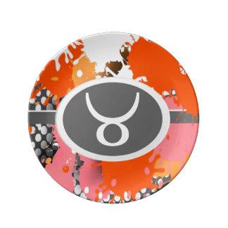 Símbolos del zodiaco, placa del tauro, astrología plato de cerámica
