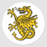 Símbolos e ilustraciones del dragón etiquetas redondas