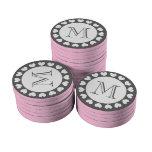 Símbolos grises y rosados del personalizado de las juego de fichas de póquer