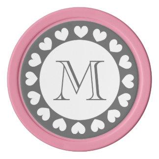 Símbolos grises y rosados del personalizado de las fichas de póquer