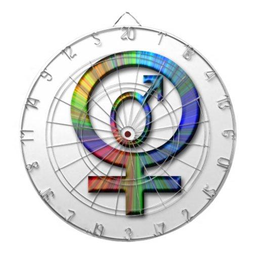 símbolos hembra-varón tablero dardos
