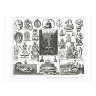 Símbolos hindúes y budistas tarjeta postal