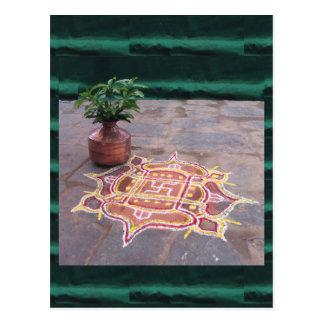 Símbolos indios del boda del rangoli de la cruz postales