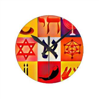 Símbolos judíos reloj redondo mediano