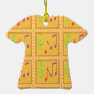Símbolos musicales de baile adorno de cerámica en forma de camiseta
