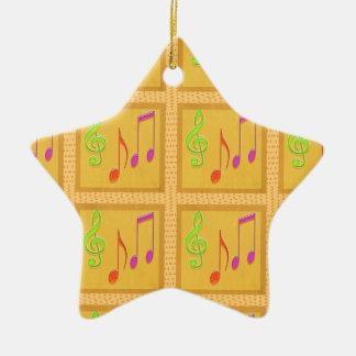 Símbolos musicales de baile adorno de cerámica en forma de estrella