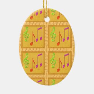Símbolos musicales de baile adorno ovalado de cerámica