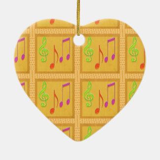 Símbolos musicales de baile adorno de cerámica en forma de corazón
