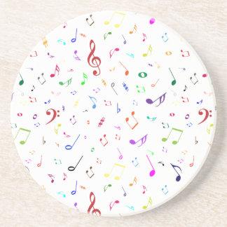 Símbolos musicales en colores del arco iris posavasos de arenisca
