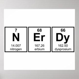 Símbolos periódicamente Nerdy del elemento Póster