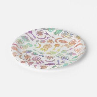 Símbolos populares de la acuarela y del oro en platos de papel