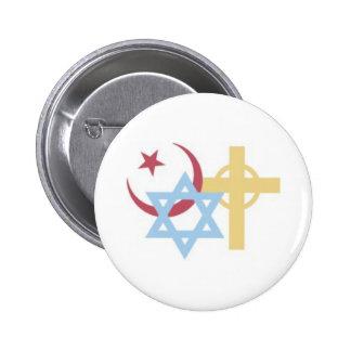 Símbolos religiosos pin redondo de 2 pulgadas