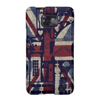 Símbolos retros de Londres del amor de Union Jack Galaxy S2 Carcasas