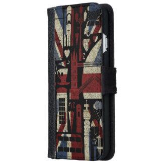 Símbolos retros de Londres del amor de Union Jack Funda Cartera Para iPhone 6