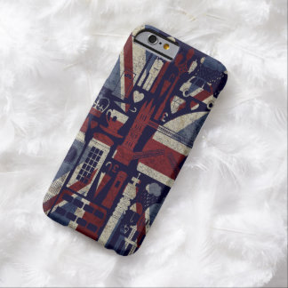 Símbolos retros de Londres del amor de Union Jack Funda De iPhone 6 Barely There