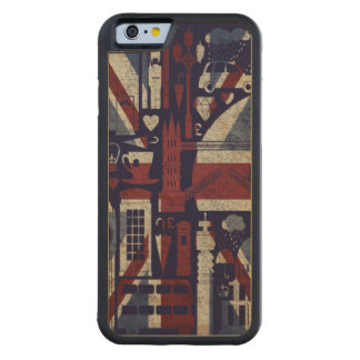 Símbolos retros de Londres del amor de Union Jack Funda De iPhone 6 Bumper Arce
