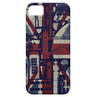 Símbolos retros de Londres del amor de Union Jack iPhone 5 Carcasas