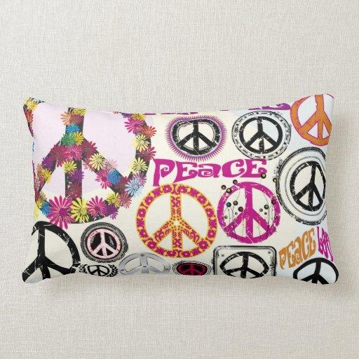 Símbolos retros del Hippie de la paz y del amor de Almohadas