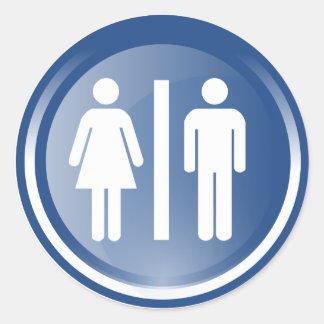 Símbolos unisex pegatina redonda