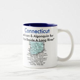 Símbolos y mapa de Connecticut Taza De Café De Dos Colores