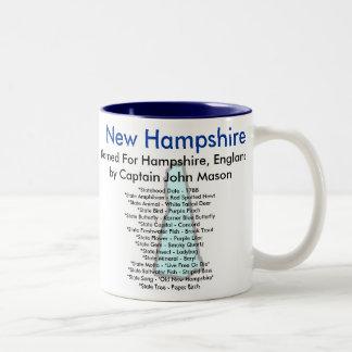 Símbolos y mapa de New Hampshire Taza De Café De Dos Colores