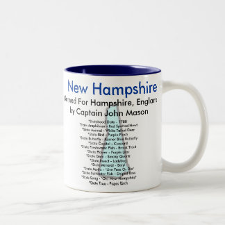 Símbolos y mapa de New Hampshire Taza Dos Tonos