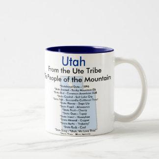 Símbolos y mapa de Utah Taza Dos Tonos