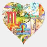 Símbolos y muestras del zodiaco de la astrología calcomanía de corazón