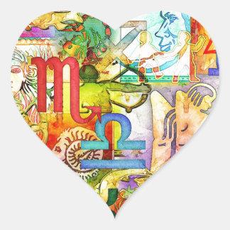 Símbolos y muestras del zodiaco de la astrología pegatina en forma de corazón
