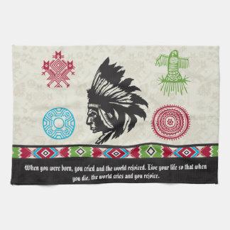 Símbolos y sabiduría - jefe del nativo americano toalla de mano