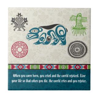 Símbolos y sabiduría - oso del nativo americano azulejo cuadrado pequeño
