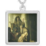 Simeon and Hannah in the Temple, c.1627 Square Pendant Necklace