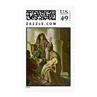 Simeon In The Temple. By Rembrandt Van Rijn Postage Stamps