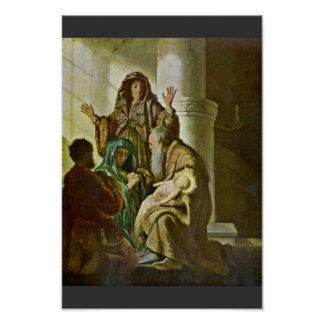 Simeon In The Temple. By Rembrandt Van Rijn Poster