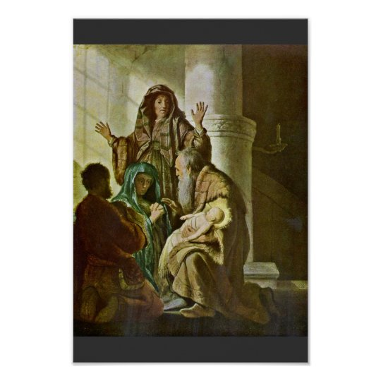 Simeon In The Temple. By Rembrandt Van Rijn Poster