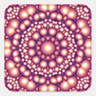 Simetría abstracta de formas de oro pegatina cuadrada