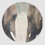 Simetría del elefante etiqueta redonda