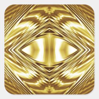 Simetría elegante del oro pegatina cuadrada