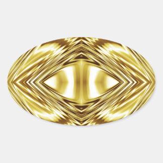 Simetría elegante del oro pegatina ovalada